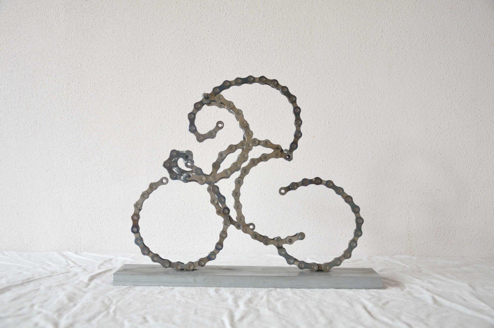 3D Wielrenner Cyclist Sculpture Bike Chain Fietsketting Decreatievelink