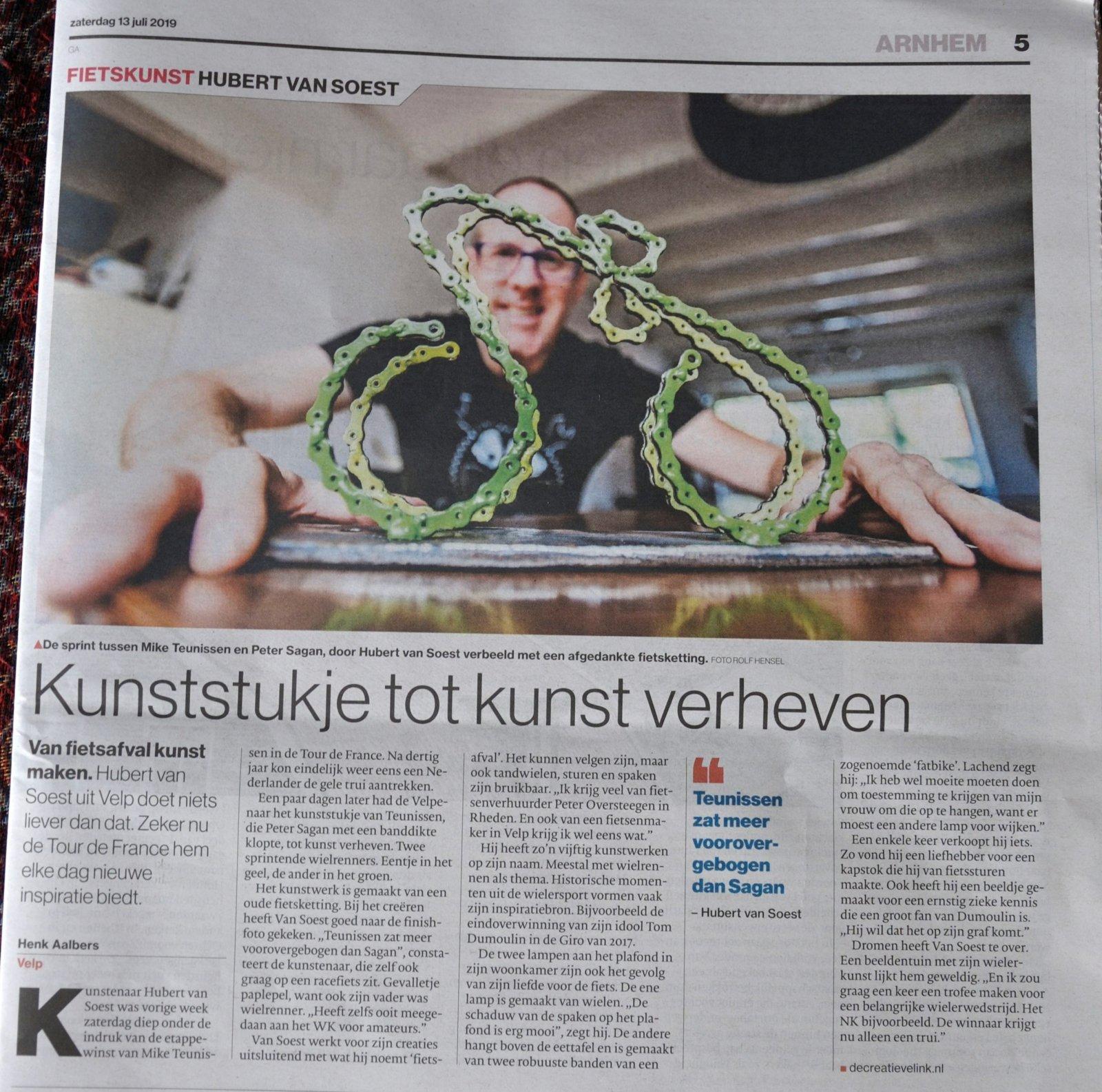 Decreatievelink Fietskunst Mike Teunissen Beeldje De Gelderlander Juli 2019