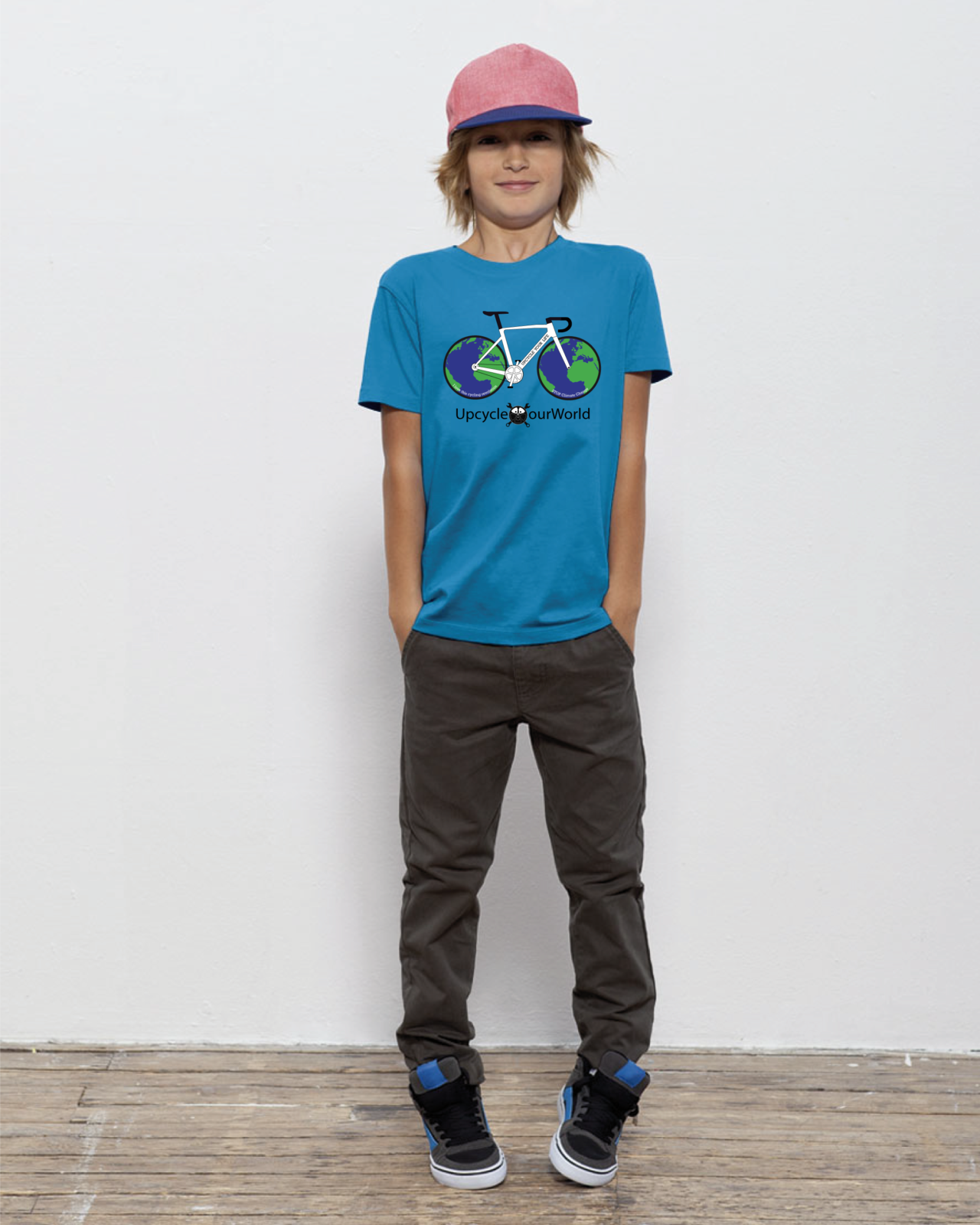 Upcycle Our World Kids T-shirt Azur Blauw