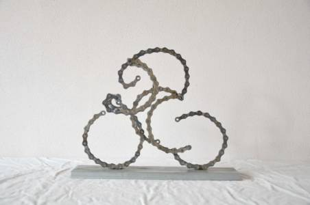 3D Wielrenner Cyclist Sculpture Bike Chain Fietsketting Decreatievelink