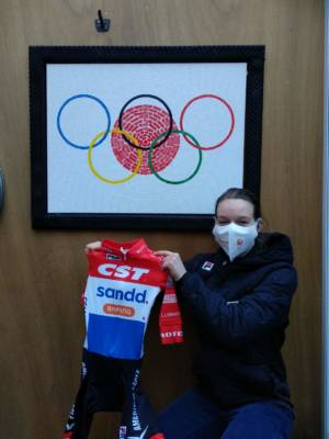 Dutch National Champion MTB Anne Tauber With Cyclingart Painting Olympic Dream Tokyo 2021