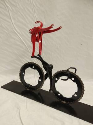Swiss Champion Cyclist Victory Position Cycling Art  Hubert Van Soest Decreatievelink NL