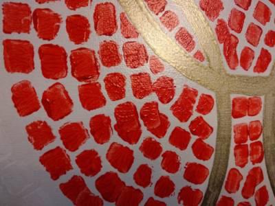 Detail Rode Zon Geschilderd Met Remblokjes Decreatievelink