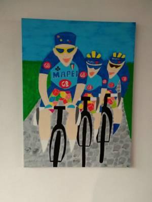 Schilderij Museeuw Bortolami Tafi Naar Roubaix 1996 Voor Yves Lampaert Door Hubert Van Soest