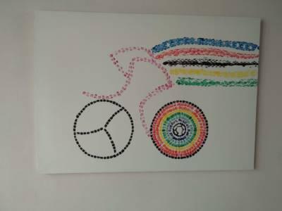 Schilderij Roze Fietser Met Regenboog Wk Wielrennen Painting Time Trial